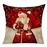 Vercico - Cojín de Lino navideño, diseño de Papá Noel, muñeco de Nieve, árbol de Navidad, Fundas de cojín de Navidad