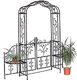 DanDiBo Rosenbogen mit Tür Metall 18602 Torbogen Gartentor Eisen Rankhilfe Rankgitter Rundbogen Tür