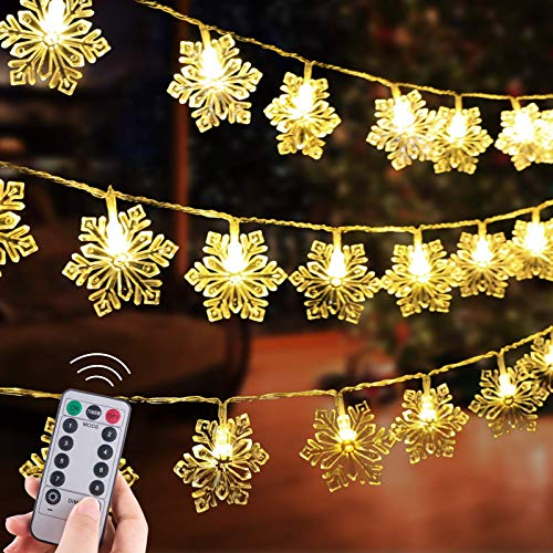 Christmas Snowflake String Lights, 13.8 Feet 40 Led Fairy Lights, Battery Operated Waterproof with 8 Lighting Modes for Xmas Home Garden Bedroom and Indoor&Outdoor Decoration, Warm White (Large Size)