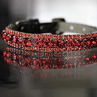 Dog Collars, Ruby Red and Orange Sapphire Crystal Rhinestones Summer Pet Jewelry Collar Necklace, Rockstar Pet Collars TM, Sizes XS-3XL, USA