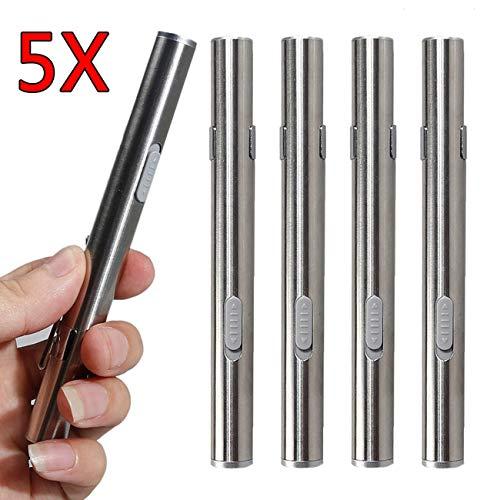 5 Piezas Mini Linterna LED USB recargable con Clip de Bolsillo + Cable USB para mecánica, Enfermeras, médicos