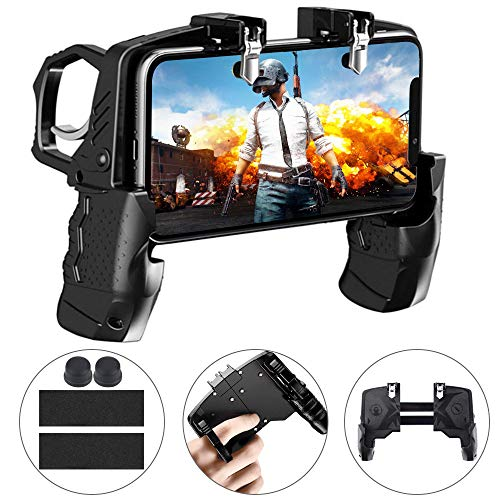 DECARETA PUBG Mobile Game Controlle Sensitive Shoot Fire Handycontroller 4-Finger-Verknüpfung Handy Controller Mobile Trigger Gamepad für Fortnite/Rules of Survival Spielgriff Android iOS