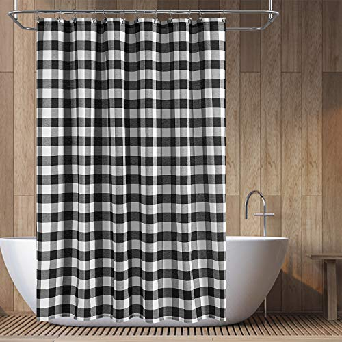 Barossa Design Buffalo Check Shower Curtain: Cotton Blend Plaid Woven Texture & Machine Washable, Water-Repellent, Rustic Farmhouse Style for Bathroom - Black and White, 71x72 Inch