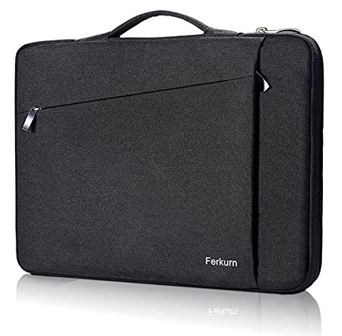 Ferkurn Laptop-Hülle für 39,6 cm (15,6 Zoll), kompatibel mit MacBook Pro 16 / Asus Zenbook Vivobook / Ideapad 3 / Omen Pavilion x360 / Acer, wasserdicht, mit Handgriff, Schwarz