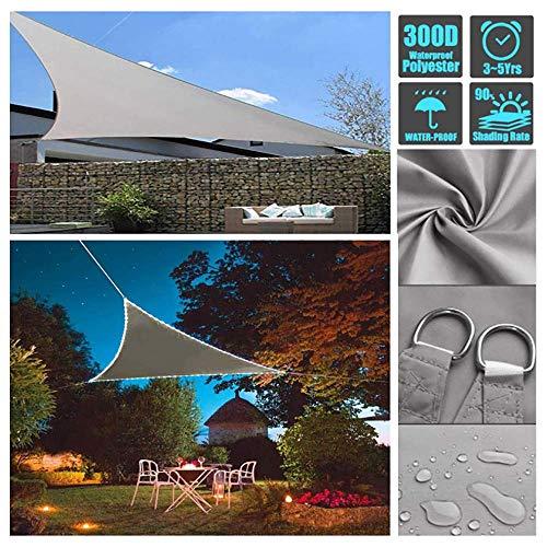 Sonnensegel Dreieckig Mit LED Licht, Wasserdicht Polyester Oxford Stoff Balkon Und Terrasse Sonnenschutz Mit 95% UV-Block Schutz Markisen Für Draußen Garten, Graues,3X3X3m