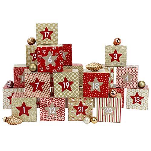 Papierdrachen DIY Adventskalender Kisten Set - Motiv Rot-beige - 24 Bunte Schachteln zum Aufstellen und zum Befüllen - 24 Boxen