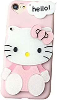 BONTOUJOUR Super Lovely iPhone 7 Plus/iPhone 8 Plus Case, Creative Multifunction Cartoon Soft TPU Phone Case with Hello Kitty Cat Flower Mirror on Back + Lanyard - Hello Kitty Pink-2