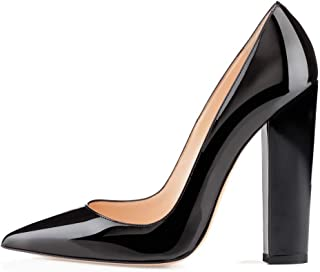 YODEKS Women's Block High Heel Pumps Sexy Pointed Toe Heels Slip On High Heel Comfort Shoes, 4.7 Inches Patent Lesther Business Shoes for Party Office Wedding Dress