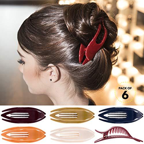 RC ROCHE 6 Stück Haarspange Haarklammer Französisch Geschwungen für Damen Mädchen Fester Halt Ohne Rutschen Hochwertig Haare Hochstecken, Large Klassisch Multifarben