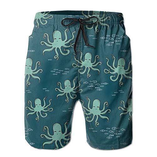 Octopus Ocean Fish Men's Quick Dry Beach Board Shorts Summer Swim Trunks M