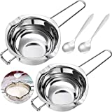 2 Pieces Stainless Steel Double Boiler Pot Baking Melting Pot for Butter and 2 Metal Spoon for Chocolate Candy Butter Cheese Caramel Candle Making Tools, 480 ml and 600 ml Capacity