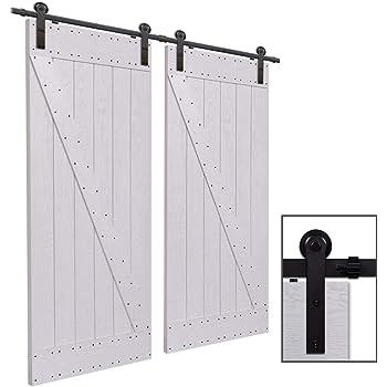 CCJH 6FT-183cm Herraje para Puerta Corredera Kit de Accesorios para Puertas Correderas Rueda Riel Juego para Dos Puertas de Madera: Amazon.es: Bricolaje y herramientas