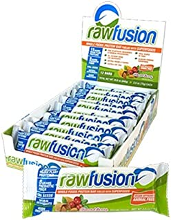 SAN Nutrition RawFusion Plant Protein Bars, Almond Berry, 12 Count
