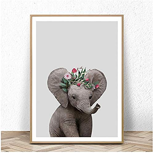 Canvas print,Nurser Canvas Art Posters en Prints olifant Wall Art schilderij foto Nordic decoratieve voor Baby Room Decor-60x80cm