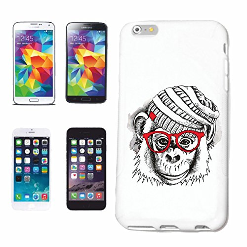 Helene telefoonhoes compatibel met Samsung Galaxy S8 AFFE chimpanse met muts en bril Monkey chimpanse AFFE Gorilla ZILVER rugzakken menschaap Charly AFFEN