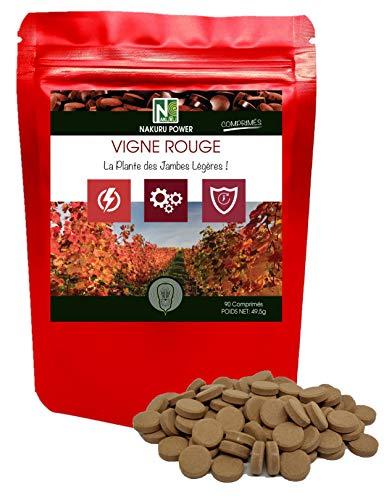 Vid Roja   90 comprimidos de 550 mg   NAKURU Power   Polvo orgánico secado y comprimido en frío   Analizado y acondicionado en Francia   La Planta de Piernas Ligeras!