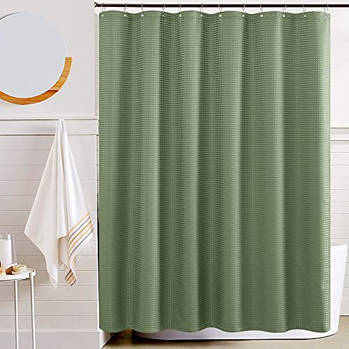 JINCHAN Fabric Shower Curtain Sage Green Shower Curtains Set for Bathroom Decor Waffle Weave Pattern 70x72 inches Long Bath Curtains Water Repellent with Curtain Hooks 1 Panel