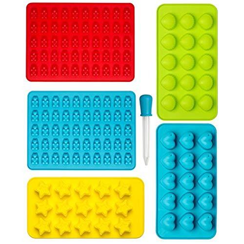 Molde de Silicona - Set de 6, Moldes para Caramelo y Osos Gominola, Dulces, Bombones, Estrella y Concha