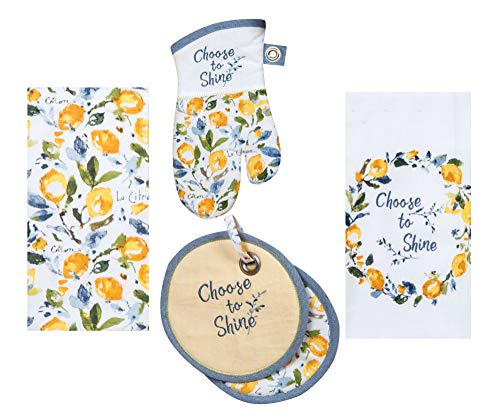 Kay Dee Designs Lemon Themed Kitchen Linen Set - 4 Piece Bundle Includes 1 Terry Towel, 1Tea Towel, 1 Oven Mitt, and 1 Potholder in Zest of Happy Design by Lisa Audit