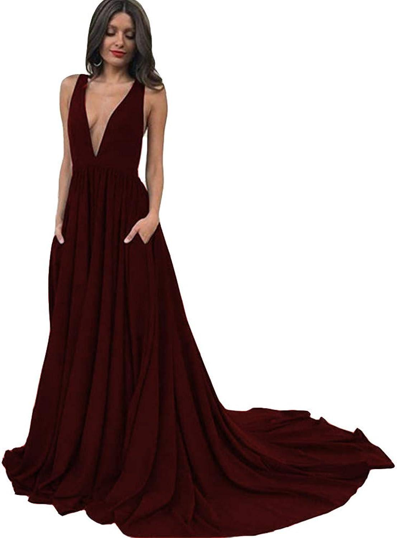 KaBuNi Deep V Neck Open Back Prom Dresses ALine Long Evening Gowns