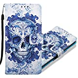 MRSTER Xiaomi Pocophone F1 Handytasche, Leder Schutzhülle Brieftasche Hülle Flip Hülle 3D Muster Cover Stylish PU Tasche Schutzhülle Handyhüllen für Xiaomi Pocophone F1. YB Blue Skull