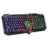 Keyboard Mouse Rainbow Backlit Wirted Colorful LED USB Ergonomic Gaming Teclado del Teclado Y El Mouse Conjunto De Ratones para El Teclado De La Oficina del Ordenador Portátil(Size:Teclado y ratón)