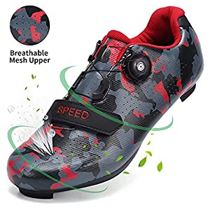 SWISSWELL Men's Road Cycling Shoes Compatible Mountain Bike with SPD/SPD-SL & Fast Rotating Buckle (Camouflage Red,15Women/12 Men)