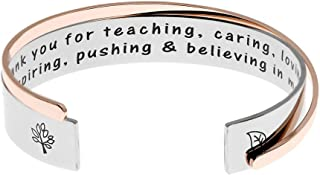 Ms. Clover Teacher Gifts Thank You for Teaching Caring Loving Inspiring Pushing & Believing in Me Teachers Bracelets, Gift for Teacher Teaching Assistant Godmother Gift.