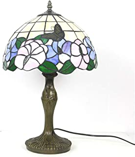 HIJIN Lámparas De Mesa De Estilo Tiffany, Vitrales De 30 Cm Lotus Butterfly Shade Dormitorio Lámpara De Noche Base De Aleación, para Iluminación Interior Oficina De Sala De Estar