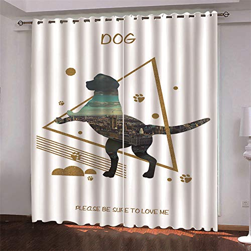 YUNSW Cartoon 3D Digital Printing Polyester Fiber Curtains, Garden Living Room Kitchen Bedroom Blackout Curtains, Perforated Curtains 2 Piece Set