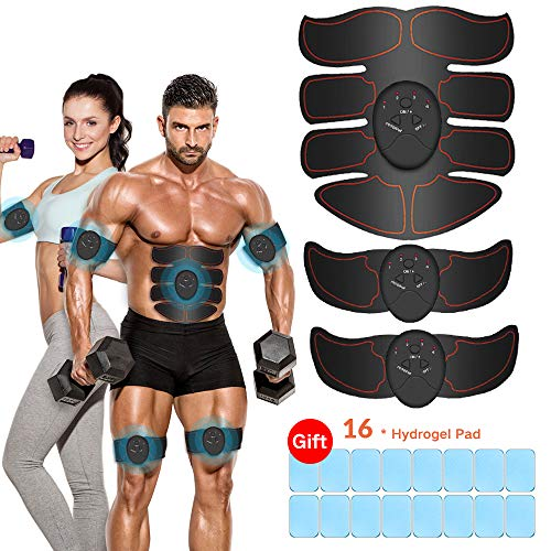 ABS Stimulator, vcloo Abdominal Muscle Trainer Muscle Toner, Losing Weight Building Muscle Fitness Training Equipment for Abdomen, Waist, Arms, Thighs, Calves, etc (Dark)