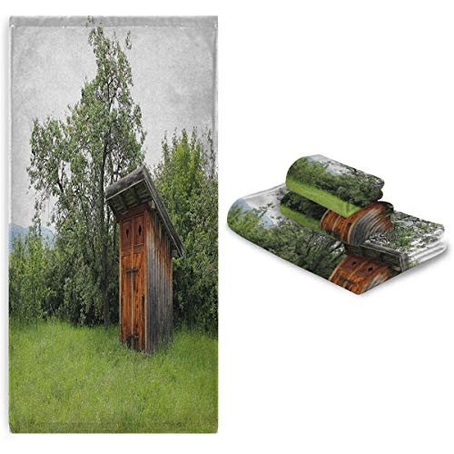 Outhouse Hand towelEasy to Dry Absorb Water Wooden Little Hut Barn Shed Cottage in Nature Forest Image Bathroom Forest Green Pale Green and Brown