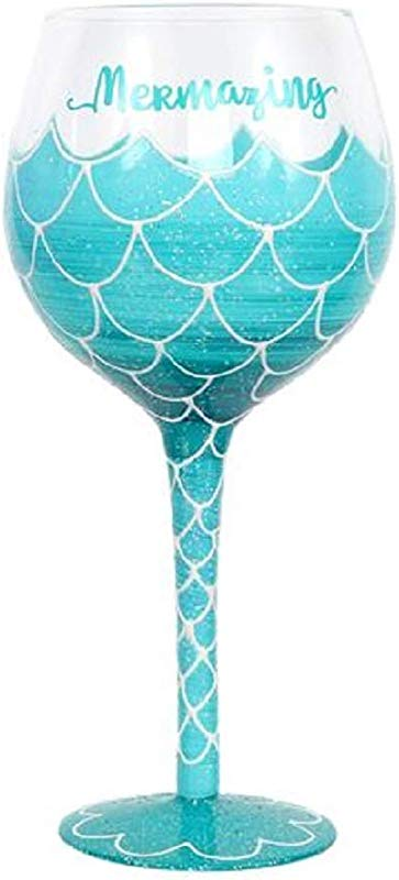 Hand Painted Mermaid Wine Glass Mermazing Blue