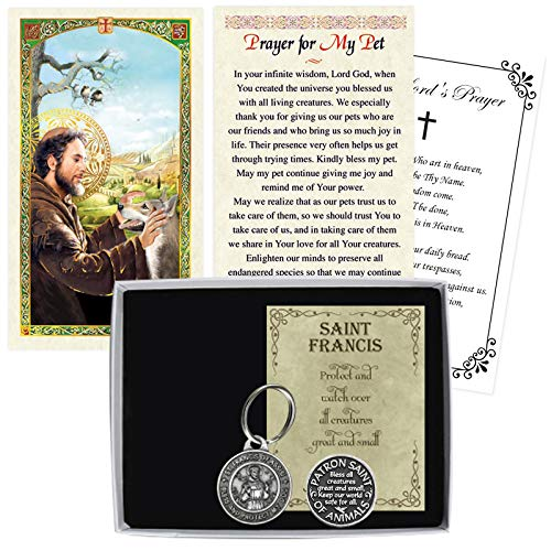 St Francis of Assisi Prayer Card, Pet Tag for Dog (Paw Print on Reverse Side of Medal), Pocket Token Coin (Saint Francis of Assisi Image on Reverse Side), The Lord's Prayer Card |Total 4 Items in Set