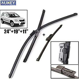 Wipers Hukcus Windshield Windscreen Wiper Blades Kit Set For Skoda Yeti 2008-2017 Front Rear Window 2009 2010 2011 2012 2013 2014 2015 - (Color: Right Hand Drive)