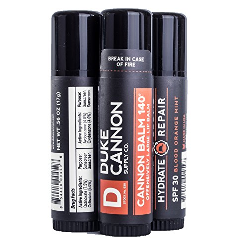 Duke Cannon Balm 140 Tactical Lip Protectant, 0.56oz with SPF 30-3 Pack