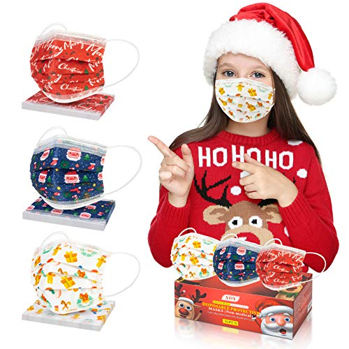 XDX Kids Face Masks, Disposable Masks for Kids-3 Cute Patterns for Children's Size- Adjustable Ear Loops & Nose Wire Face Mask for Boys Girls (30Pcs)