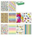 kartos - Papel de regalo con diseños variados - Objetos variados (10 hojas) (Party)
