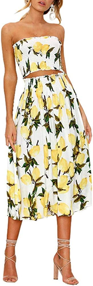 Blansdi Women Sexy 2 Piece Outfit Dress Summer Floral Print Tube Crop Top and Maxi Skirt Set
