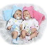 YIHANG Simulation Bébé Jumeaux Reborn Bébé Poupées Mignon Réaliste À La Main Réaliste Silicone Bébé Bébé Doux Poupée Magnétique Bouche 22 Pouces 55 Cm,Twins