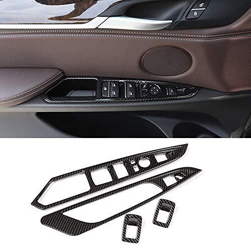 Qualilife Cornice Telaio pulsantiera finestrino portiera Auto in Fibra di Carbonio per Accessori Auto BMW X5 X6 F15 F16 2014-2018