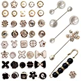 46 Piezas Mujer Camisa Broche Botones,Broche para Ropa Mujer,Broche Boton,Pequeño Broche de Seguridad para el Vestido Cardigan Suéter Sombrero