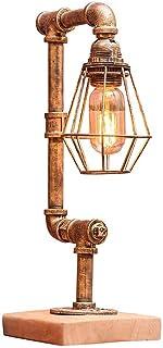 SMEJS Lámpara de mesa Lámpara de mesa industrial Vintage Lámpara de mesa de noche Lámpara de escritorio de metal rústico T...