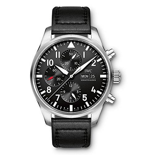 Iwc da uomo, 43mm, cinturino in pelle nera in acciaio di cristallo zaffiro orologio automatico analogico IW377709