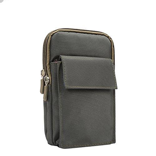 Nylon Taille Tasche Geldbörse Umhängetasche Smartphone Tasche Schutzhülle für LG G7thinq/LG V30/LG V35thinq/LG Stylo 4/Motorola Moto G6Plus/G6Play/E5Plus/Z3Play, Olivgrün