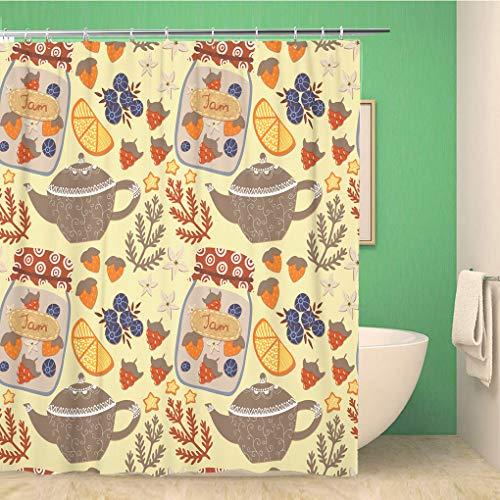 Awowee Decor Duschvorhang Herbst Teekanne Glas Marmelade Zitrone verschiedene Beeren Sterne 180 x 180 cm Polyester Stoff Wasserdicht Badvorhänge Set mit Haken für Badezimmer