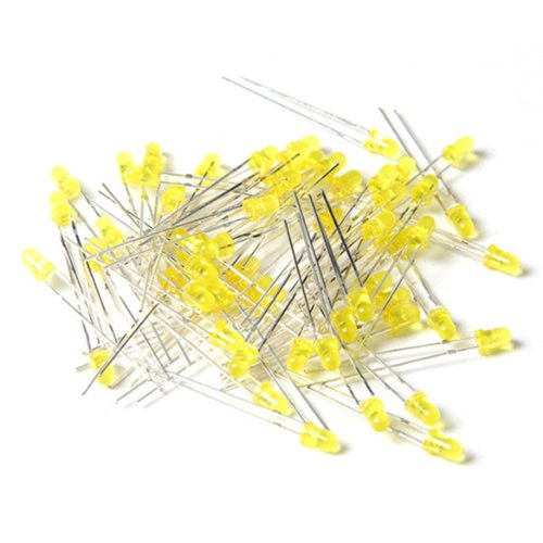 100 x 3 mm 2 broches jaune lumière LED lampe lumineuse lumineuse pour éclairage clignotant DIY