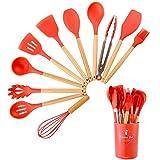 Wekity, set di utensili da cucina in silicone, 11 pezzi, con supporto per pentole antiaderenti, utensili da cucina e gadget con spatola, paletta a taglio, cucchiai, pennello, frusta, pinze (rosso)
