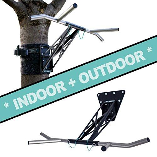 PULLUP & DIP Premium Klimmzugstange und Dip Stange, Mobil für Wand und Befestigung an Baum & Pfosten, für zu Hause + Outdoor im Garten, Hochwertige Qualität, Über 35 Übungen (Indoor + Outdoor Paket)