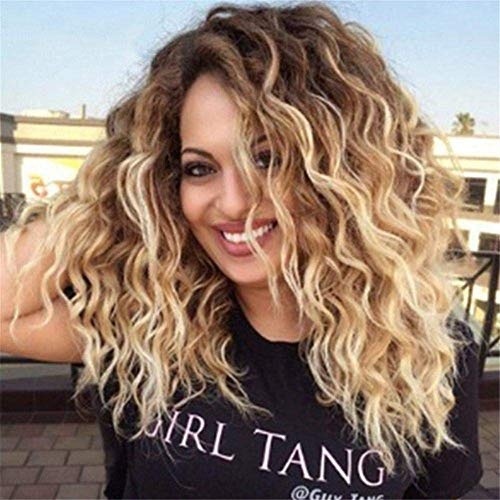 NBVCX Inicio Accesorios Lady Full Wig Fashion Afro Wig Short Kinky Curly Pelucas para Mujeres Negras Ombre Brown to Blonde Dark Roots Pelo sintético Rollo Africano